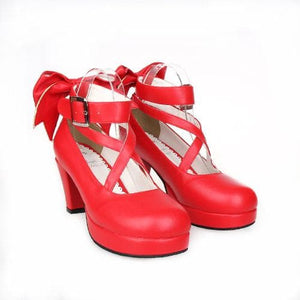 EU 33 - 52 [Cosplay Madoka] Lolita Princess Bow Platform High Heel Shoes SP130232 - SpreePicky  - 8