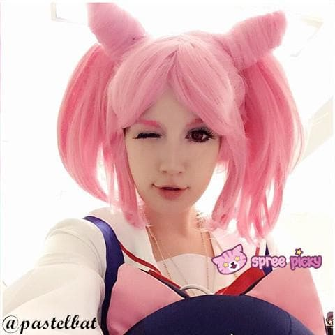 Cosplay Sailor Moon Chibi Moon Chibi Usa Hot Pink Wig With Pony Tails SP141460