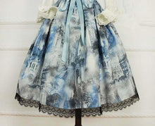Load image into Gallery viewer, Costom Made Dusty Blue Old Castle Painting Suspender Dress SP168077
