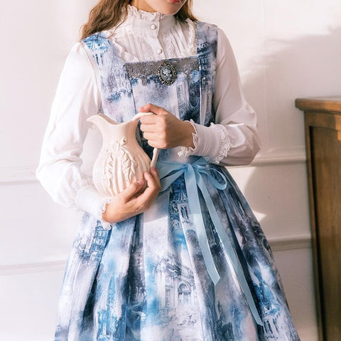Costom Made Dusty Blue Old Castle Painting Suspender Dress SP168077