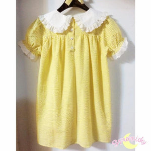 Cream Yellow Grids Short Sleeve Lace Collar Top SP141039 - SpreePicky FreeShipping