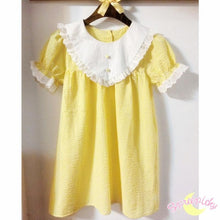Load image into Gallery viewer, Cream Yellow Grids Short Sleeve Lace Collar Top SP141039 - SpreePicky FreeShipping
