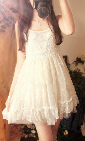 Creamy Floral Ruffle Princess Dress SP179095