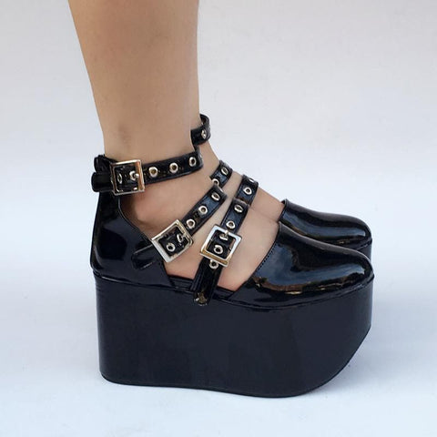Gothic Punk Custom Made Black Belts Shoes SP167812
