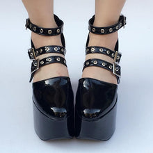 Load image into Gallery viewer, Gothic Punk Custom Made Black Belts Shoes SP167812