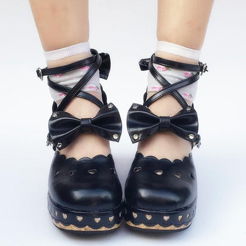 Custom Made Black Bows Shoes SP167902