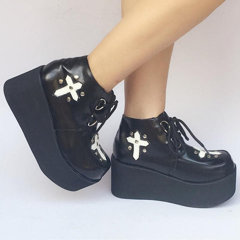 Custom Made Black Cross Platform Shoes SP168085