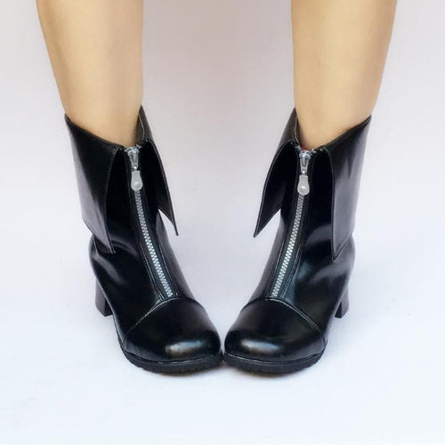 Custom Made Black Short Boots Shoes SP168273