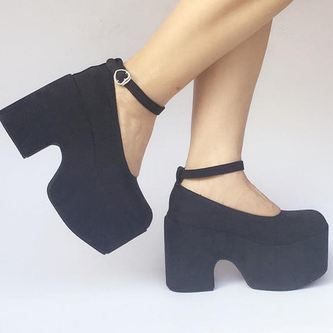 Custom Made Black Simple High Heels Platform Shoes SP168133