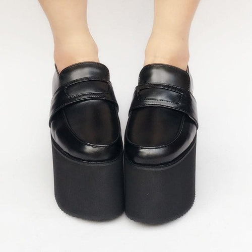 Custom Made Black Uniform Leather Platform Shoes SP168379