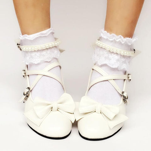 Custom Made Cream White Bow Shoes SP167857