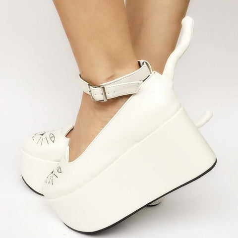 Custom Made Dreamy White Kitty Platfrom Shoes SP167910