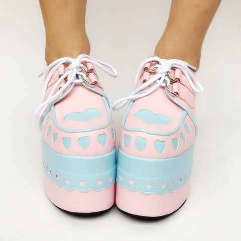 Custom Made Hearts Attack Lace Pink Meet Blue Shoes SP167787