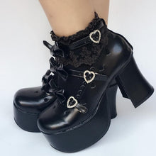 Load image into Gallery viewer, Custom Made Little Heart Hallow Black Bow Shoes SP167974