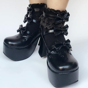 Custom Made Little Heart Hallow Black Bow Shoes SP167974