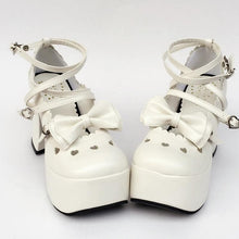 Load image into Gallery viewer, Custom Made Little Heart Hallow Bow White Shoes SP167945