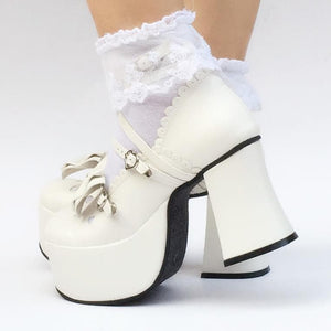 Custom Made Little Heart Hallow Bow White Shoes SP167945