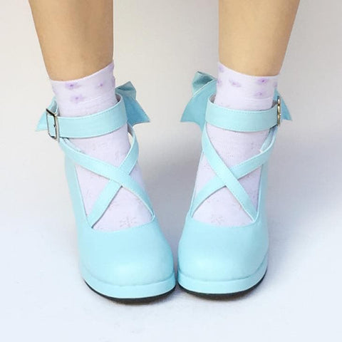 Custom Made Lolita Baby Blue Bow Shoes SP168138