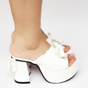 Custom Made Lolita Baby White Bow Platform Slippers Shoes SP167894