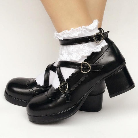 Custom Made Lolita Black Detachable Bow Shoes SP167935