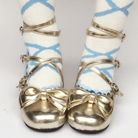 Custom Made Lolita Gorgeous Champagne Bow Shoes SP167918