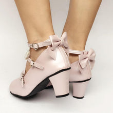 Load image into Gallery viewer, Custom Made Lolita Little Heart Cut Out Bow Shoes SP167702