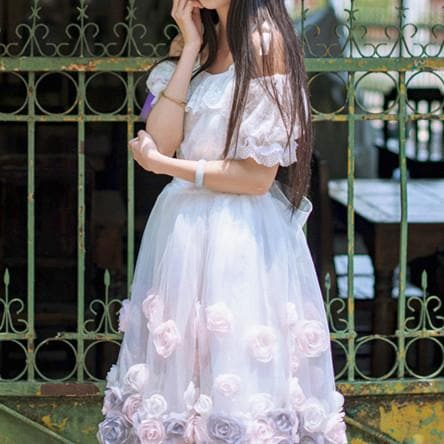 {Custom Made}Retro Frilly Rose Lace Dress SP179305