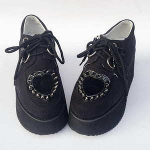 Custom Made Rivet Heart Flatform Shoes SP168610
