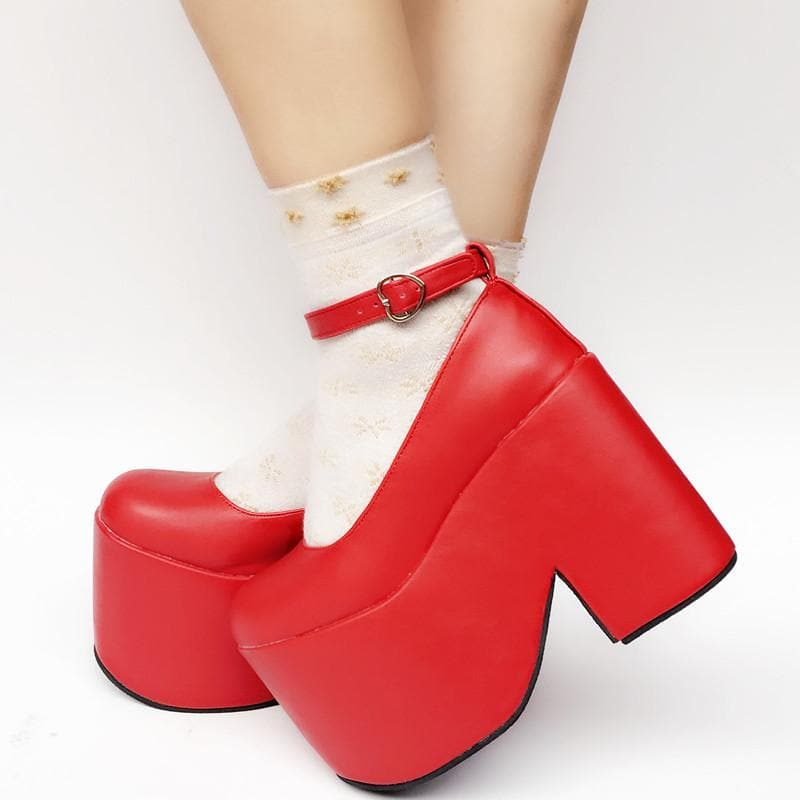 Custom Made Simple Red High Heels Shoes SP167802