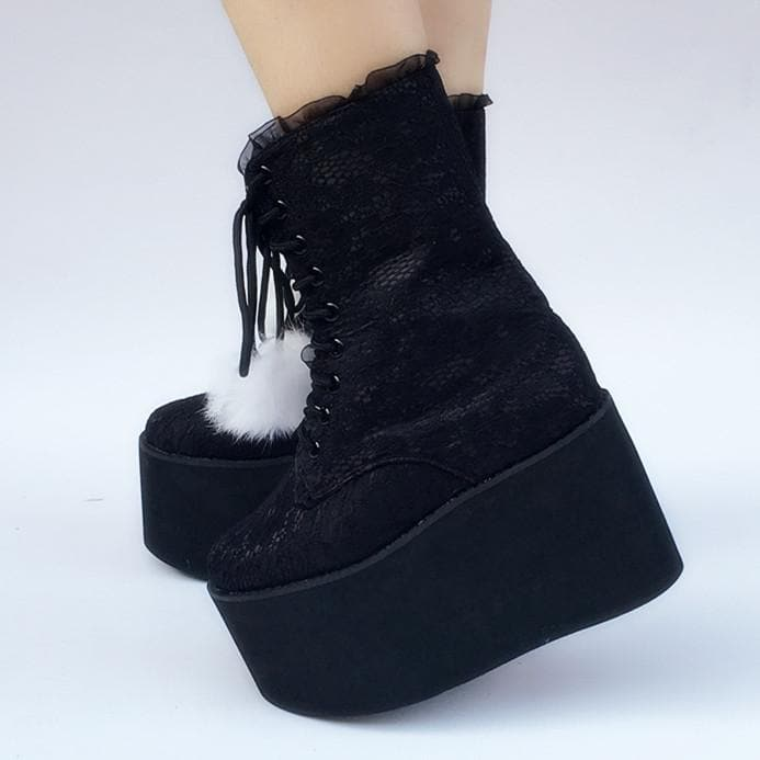 Custom Made Snow Ball Black Lace Shoes SP167870