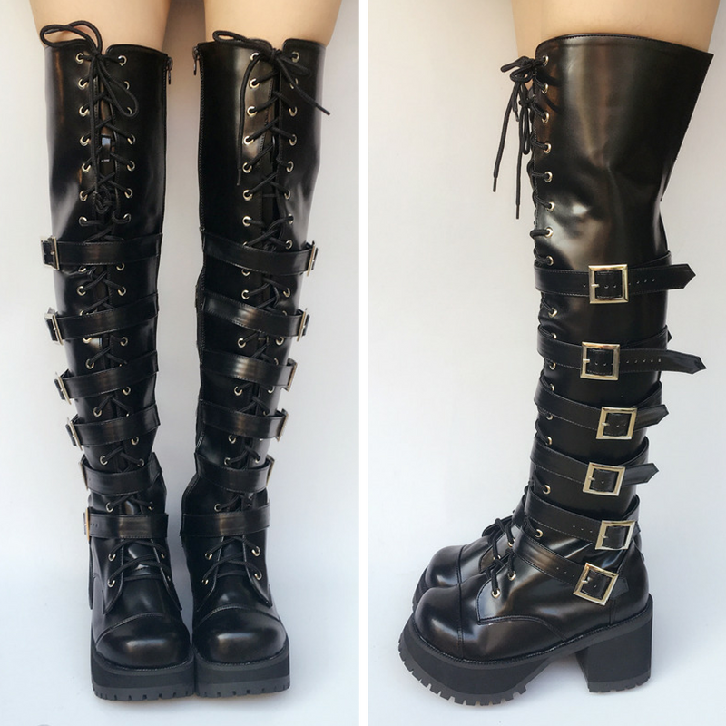 Custom Made Super Cool Punk Over Knee High Boots SP167713