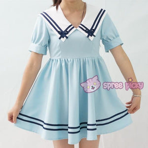 Custom Made XS-4XL Blue/White Sailor Dress SP152311 - SpreePicky  - 4