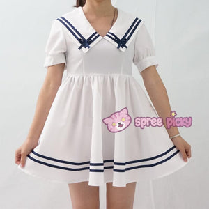 Custom Made XS-4XL Blue/White Sailor Dress SP152311 - SpreePicky  - 5