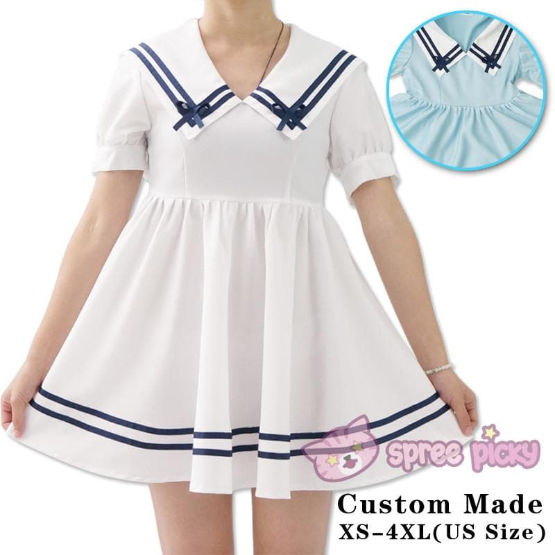 Custom Made XS-4XL Blue/White Sailor Dress SP152311 - SpreePicky  - 1