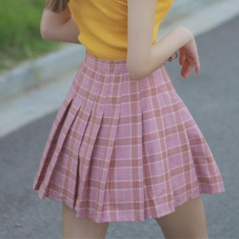 Cute Brown/Blue/pink Plaid Highwaisted Skirt SP178936