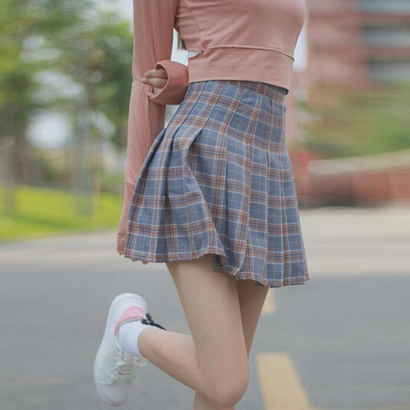 e762206eff ... Load image into Gallery viewer, Cute Brown/Blue/pink Plaid Highwaisted  Skirt SP178936 ...