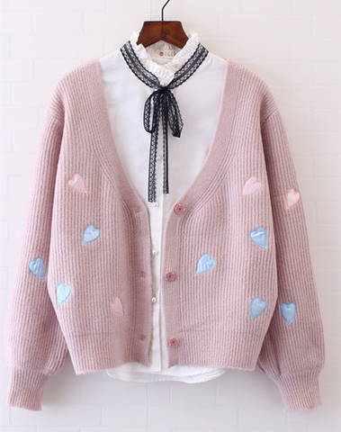 Cute Heart Pattern Cardigans Sweater SP166971