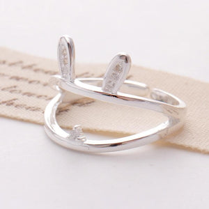 Cute Rabbit Bunny Silver Ring SP179020