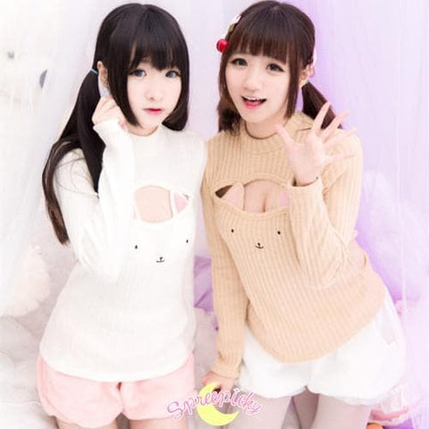 [4 Colors] Cute Sexy Neko Cat Ears Embroidery Open Chest High Collar Bottoming Sweater SP151641 - SpreePicky  - 5