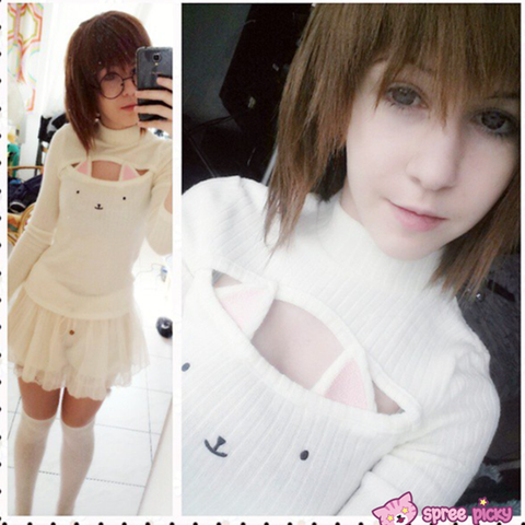 [4 Colors] Cute Sexy Neko Cat Ears Embroidery Open Chest High Collar Bottoming Sweater SP151641 - SpreePicky  - 3