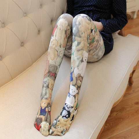 Cute Teddy Printing Tights SP178718