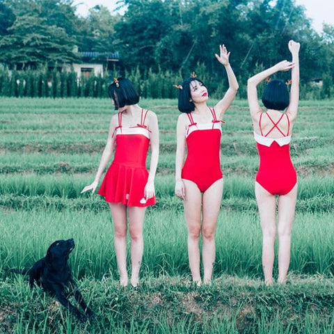 Cutie Girl One-pieces Red Swimsuit SP165965