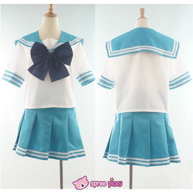 Daily Cosplay Sailor Moon Sailor Neptune Kaiou Michiru Sea Green Seifuku Uniform Top/Skirt/Bow SP151749/SP151750 - SpreePicky  - 1
