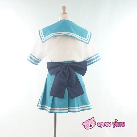 Daily Cosplay Sailor Moon Sailor Neptune Kaiou Michiru Sea Green Seifuku Uniform Top/Skirt/Bow SP151749/SP151750 - SpreePicky  - 4