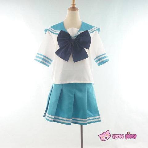 Daily Cosplay Sailor Moon Sailor Neptune Kaiou Michiru Sea Green Seifuku Uniform Top/Skirt/Bow SP151749/SP151750 - SpreePicky  - 3