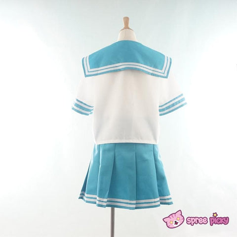 Daily Cosplay Sailor Moon Sailor Neptune Kaiou Michiru Sea Green Seifuku Uniform Top/Skirt/Bow SP151749/SP151750 - SpreePicky  - 2