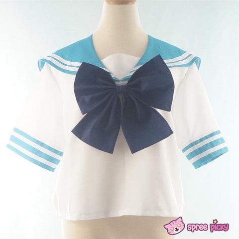 Daily Cosplay Sailor Moon Sailor Neptune Kaiou Michiru Sea Green Seifuku Uniform Top/Skirt/Bow SP151749/SP151750 - SpreePicky  - 5