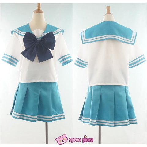 Daily Cosplay Sailor Moon Sailor Neptune Kaiou Michiru Sea Green Seifuku Uniform Top/Skirt/Bow SP151749/SP151750