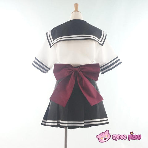Daily Cosplay [Sailor Moon] Sailor Pluto Setsuna Meiou Sailor Seifuku Black Uniform Top/Skirt/Bow SP151873/SP151874 - SpreePicky  - 3