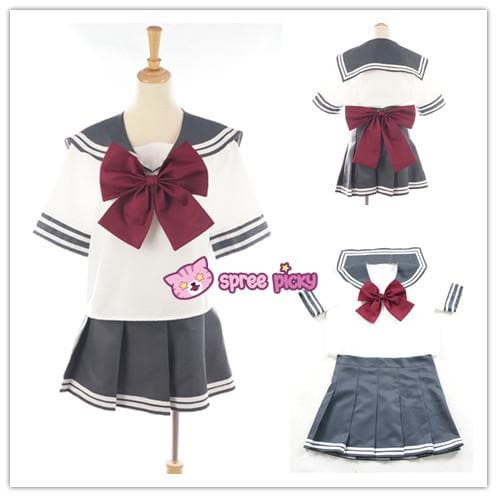 Daily Cosplay Sailor Moon Sailor Pluto Setsuna Meiou Sailor Seifuku Grey Uniform Top/Skirt/Bow SP151751/2 - SpreePicky  - 1